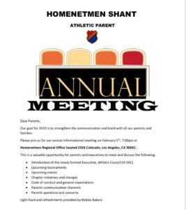 Athletic Parents Meeting @ Homenetmen Regional Office