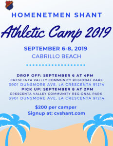 3rd Annual Shant Camp For All Athletes Ages 10-18 @ Cabrillo Beach Youth Center Camp Site